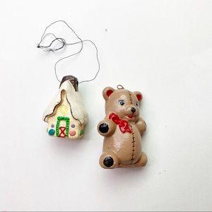 Ceramic Christmas Bundle House Bear Homemade Decor